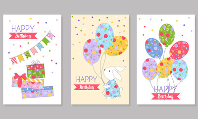 3 children's backgrounds for greeting card