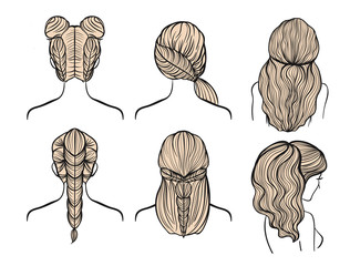 Drawing female hairstyles, braids. Vector set illustrations.