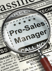 Job Opening Pre-Sales Manager. 3D.