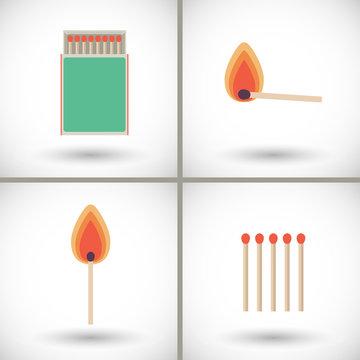 Match sticks and box set flat vector illustration