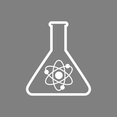 White laboratory glass vector icon on grey background