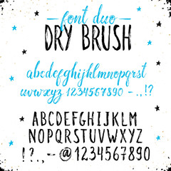 Handmade letters. Handwritten alphabet on white background. Hand drawn grunge calligraphy. Modern ink typography. Dry brush font duo.