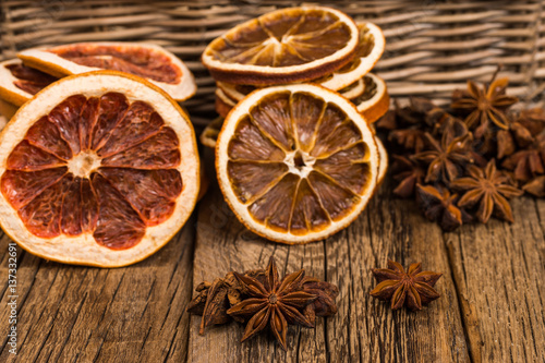 "Star anise, oranges and grapefruit on the old wooden table."" Stock ..."