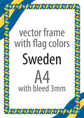 Frame and border of ribbon with the colors of the Sweden flag