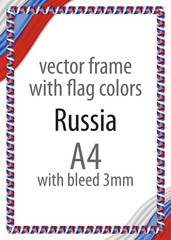 Frame and border of ribbon with the colors of the Russia flag
