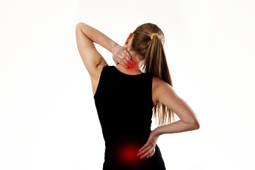 Female massaging tired back muscles. Concept of osteoporosis therapy.