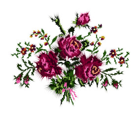 Color bouquet of flowers (roses and cornflowers) in violet and green tones with desert spikes. Can be used as badge, card, emblem, icon...