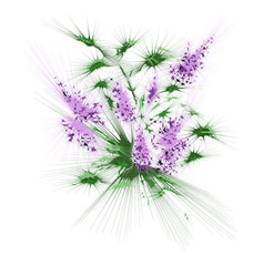 Abstract bouquet of flowers (bloom of lilacs)  with desert spikes and stars. Can be used as badge, card, emblem, icon...