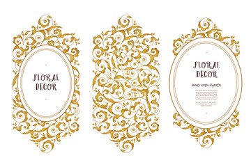 Vector set of ornate frame in Eastern style.