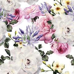 Kwiatowy wzór z kwiatami, akwarela.