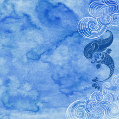 Marine illustration with cartoon mermaid and waves on a blue watercolor background.