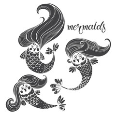 Three mermaids. Fairytale cartoon characters. Vector  illustration,  silhouettes.  Black and white isolated elements for design.