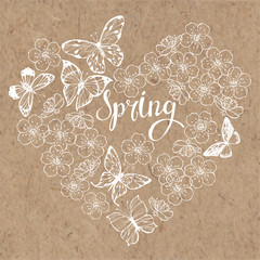 Spring background with butterflies and flowers of cherry. Vector illustration of heart shape on a  kraft paper.