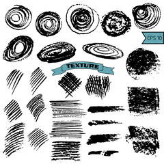 Set of hand drawn design elements. Vector collection of black ink and pastel textures.