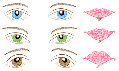 Hand Drawings of Different Types of Eyes and Lips. Blue, Green and Brown Eyes and Pink Lips.  Vector Illustration.