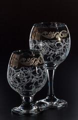glass glass on a black background