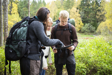 Young Hikers Checking Map In Forest