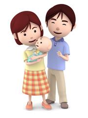 赤ちゃんを抱くママと寄り添うパパ04