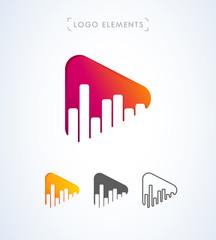 Vector music play button logo. App icon design