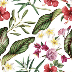 Seamless tropical flower pattern.