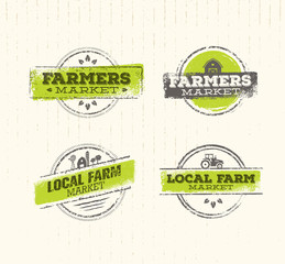 Local Farm Logo, Local Farm Food Concept, Local Farm Creative Vector, Local Farm Design Element. Local Farm Stamp Set