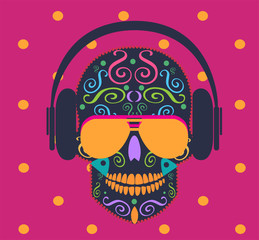 Skull icon vector with sunglasses and headphones