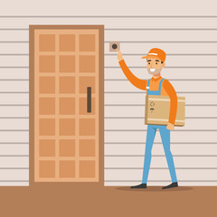 Delivery Service Worker Ringing The Appartment Doorbell, Smiling Courier Delivering Packages Illustration