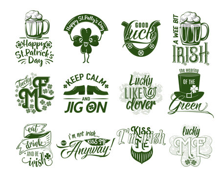Vector illustration of happy Patrick day logo set