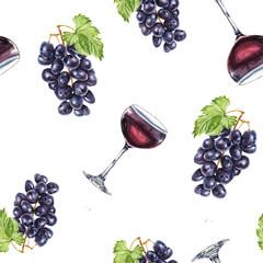Watercolor wine pattern