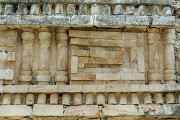 ornamental reliefs of the palace in ruins in the Mayan archaeological enclosure of Labna, in Yucatan, Mexico.