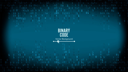 Binary Code Background Vector. Algorithm Binary, Data Code, Decryption And Encoding, Row Matrix