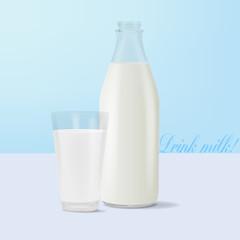 Milk glass an bottle