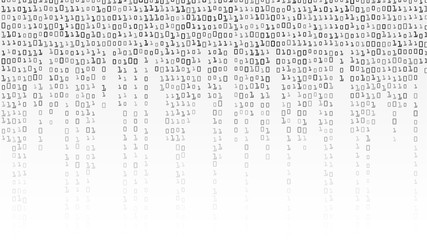 Binary Code Background Vector. Black And White Background With Digits On Screen.