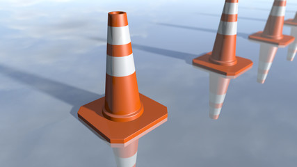 Traffic cone pilons in a row. 3D rendering