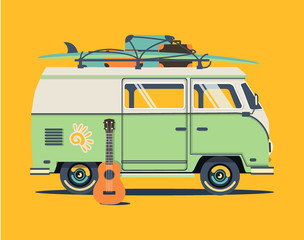 Vector summer  illustration with flat car. Background retro travel van