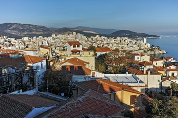 Panorama to city of Kavala, East Macedonia and Thrace, Greece