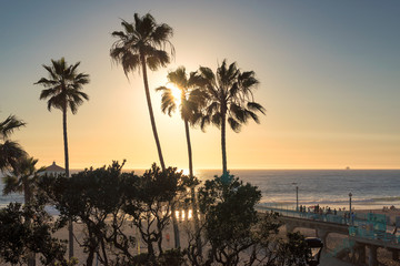 Manhattan Beach and Pier at sunset time in Southern California in Los Angeles.