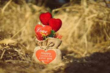 Heart-shaped gift in sack Place on Hay
