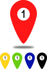 Colored position indicators for maps with number 1