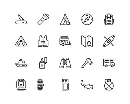 Outdoor icon set, outline style