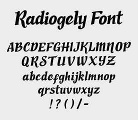 Radiogely vector font. Alphabet. uppercase, lowercase character and symbols. Good use for cover title, letterhead, or any design title You want. Easy to use, edit or change color.