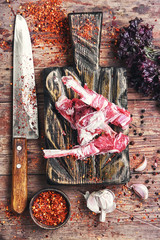 meat on the rib of lamb