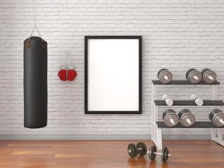 Mock up scene, 3d render, sport, gym, fitness