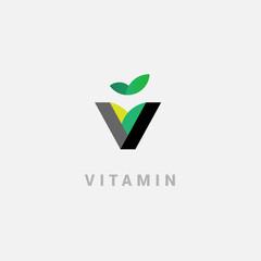 V - vitamin. Creative vector logo in a modern flat style.