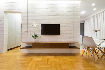 Living room interior - tv stand, wall mounted
