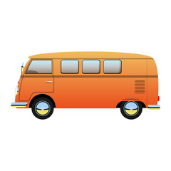 Cartoon retro van illustration, vector bus, isolated on white