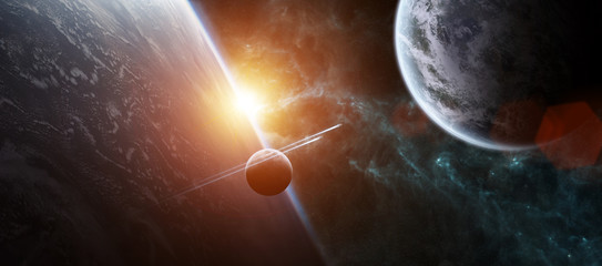 Sunrise over distant planet system in space 3D rendering elements of this image furnished by NASA Wall mural