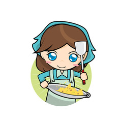 Cute Girl Cooking Fried Rice