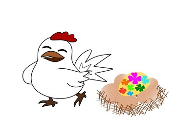 White hen and Easter eggs on net