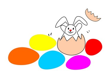 Easter eggs and white rabbit